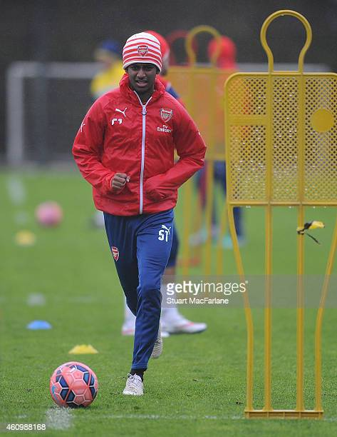 Gedioon Zelalem of Arsenal during a training session at London Colney on January 3 2015 in St Albans England