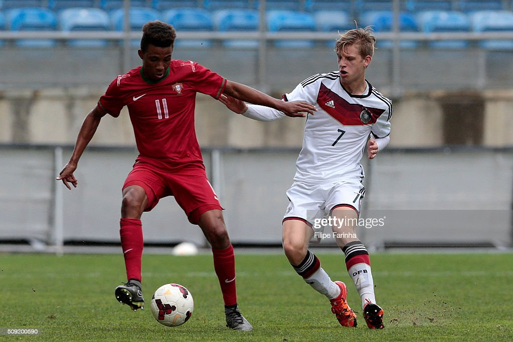 Gedson Fernandes of Portugal challenges Arne Maier of Germany during the UEFA Under17 match between U17 Portugal v U17 Germany on February 9, 2016 in Estádio Algarve, Loulé, Portugal.