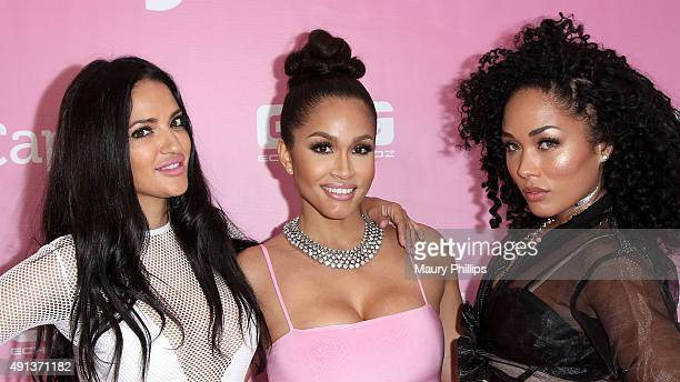 Geebin Rosa Acosta and Kreesha Turner attend 'Pretty In Pink' Flagship Store opening of Cossamia on October 4 2015 in Los Angeles California