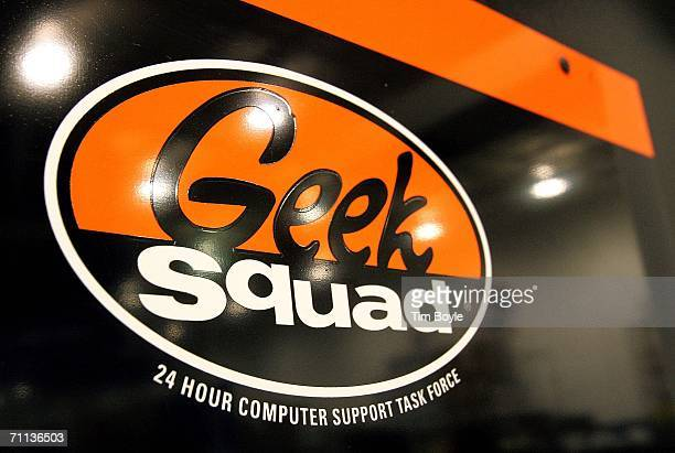 A 'Geek Squad' sign hangs on a door to its computer repair facility in a Best Buy store June 6 2006 in Niles Illinois Best Buy is reportedly testing...
