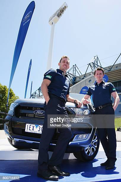 Geelong Cats Captain Joel Selwood and new recruit Patrick Dangerfield pose during a Geelong Cats AFL media opportunity at Melbourne Cricket Ground on...