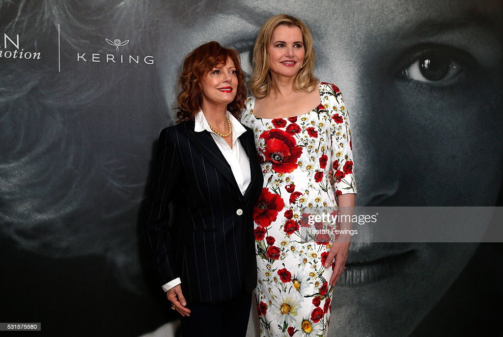 Geena Davis (R) and Susan Sarandon attend a Women in Motion event ...