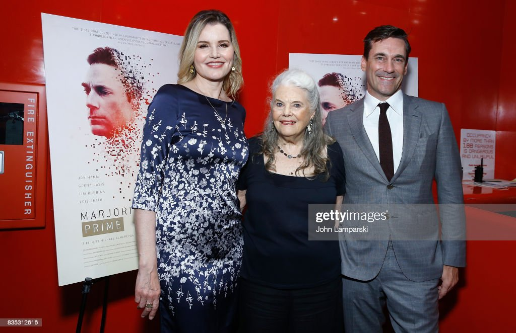 Geena Davis, Lois Smith and Jon Hamm attend 'Marjorie Prime' New York premiere on August 18, 2017 in New York City.