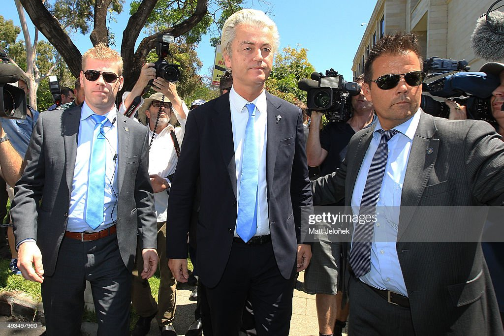 Geert Wilders (C) departs the ALA media conference on October 21, 2015 in Perth, Australia. Mr Wilders launched the anti-Islam Australian Liberty Alliance political party on Tuesday night. The venue of the launch was kept secret to avoid protesters.
