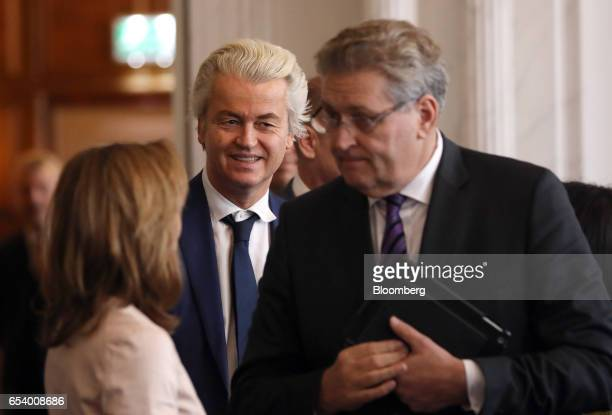 Geert Wilders leader of the Dutch Freedom Party centre arrives at a meeting at the House of Representatives at the Dutch Parliament following the...