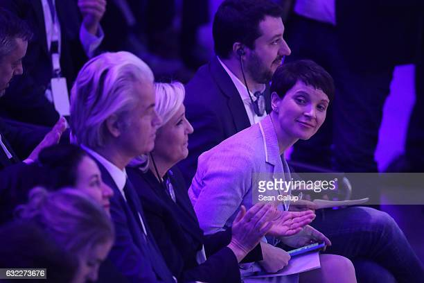Geert Wilders leader of the Dutch PVV political party Marine Le Pen leader of the French Front National political party Matteo Salvini leader of the...