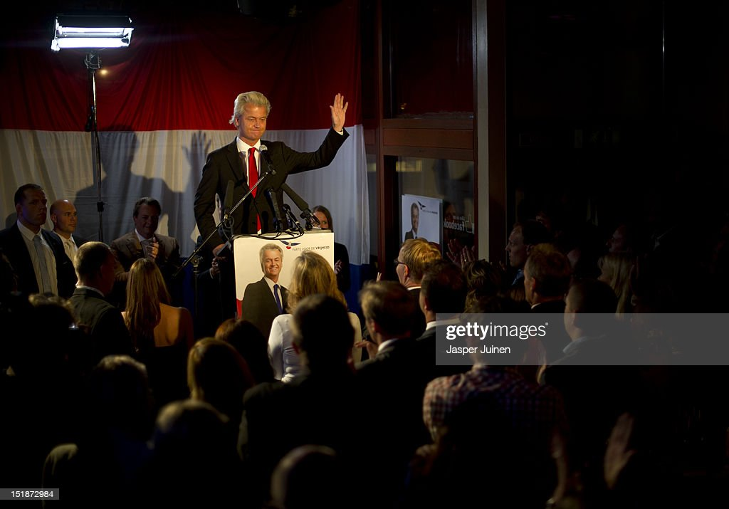 Geert Wilders of the Freedom Party (PVV) addresses the crowd during the election night of the Dutch parliamentary elections on September 12, 2012 in The Hague, Netherlands.