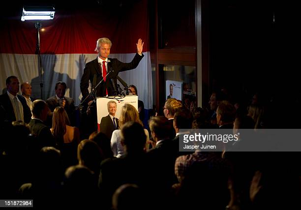 Geert Wilders of the Freedom Party addresses the crowd during the election night of the Dutch parliamentary elections on September 12 2012 in The...