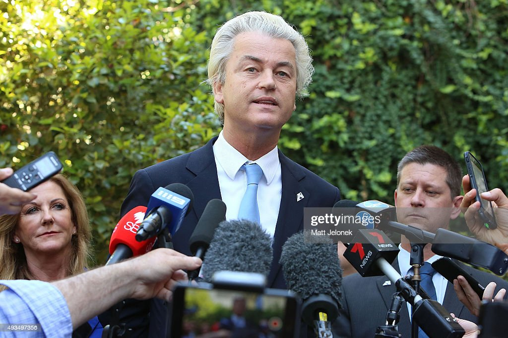 <a gi-track='captionPersonalityLinkClicked' href=/galleries/search?phrase=Geert+Wilders&family=editorial&specificpeople=5053412 ng-click='$event.stopPropagation()'>Geert Wilders</a> speaks to media on October 21, 2015 in Perth, Australia. Mr Wilders launched the anti-Islam Australian Liberty Alliance political party on Tuesday night. The venue of the launch was kept secret to avoid protesters.