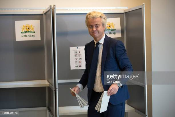 Geert Wilders the leader of the rightwing Party for Freedom casts his vote during the Dutch general election on March 15 2017 in The Hague...