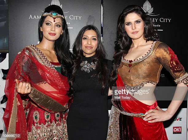 Geeta Basra and Zarine Khan during the Bridal fashion week in Mumbai on November 2 2010