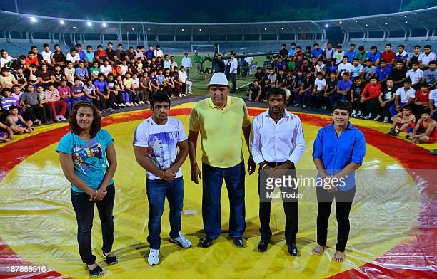 Geeta Phogat Sushil Kumar Satpal Yogeshawar Dutt and Babita at Chhatrasal Stadium in New Delhi on Tuesday