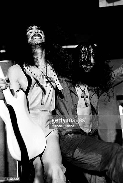 Geezer Butler and Bill Ward of Black Sabbath perform on stage in Manchester UK 1972