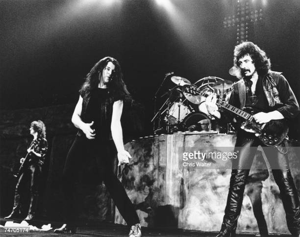 Geezer Butler Ian Gillan and Tony Iommi of Black Sabbath in 1984 during Black Sabbath File Photos in Long Beach United Kingdom
