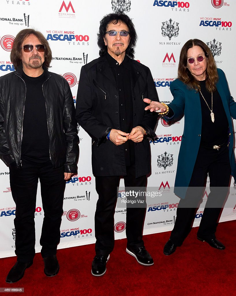 Geezer Butler, Ozzy Osbourne and Toni Loomi of Black Sabbath attend the ASCAP's 2014 Grammy Nominee Brunch at SLS Hotel on January 25, 2014 in Beverly Hills, California.