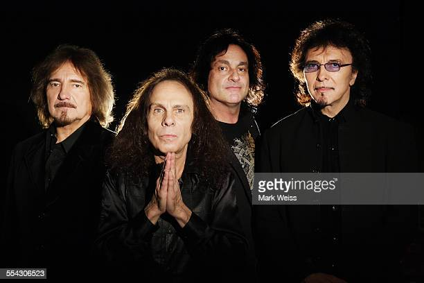Geezer Butler Ronnie James Dio Vinny Appice and Tony Iommi of Heaven and Hell studio group portrait United States 2007