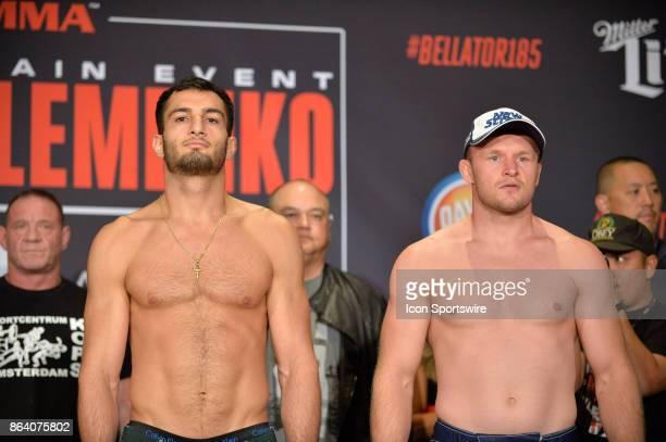 Gegard Mousasi and Alexander Shlemenko pose for photos at the weighin Gegard Mousasi will be challenging Alexander Shlemenko in a Middleweight bout...