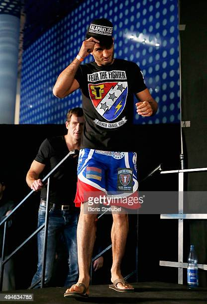 Gegard Mousasi comes to the stage during the UFC weighin at O2 World on May 30 2014 in Berlin Germany