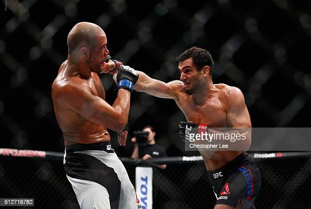 Gegard Mousasi of Holland in action as he beats Thales Leites of Brazil during the Middleweight Bout of the UFC Fight Night at The O2 Arena on...