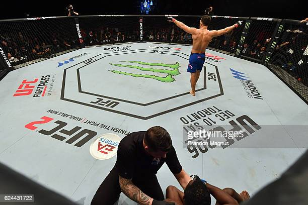 Gegard Mousasi of Iran celebrates his TKO victory over Uriah Hall of Jamaica in their middleweight bout during the UFC Fight Night at the SSE Arena...