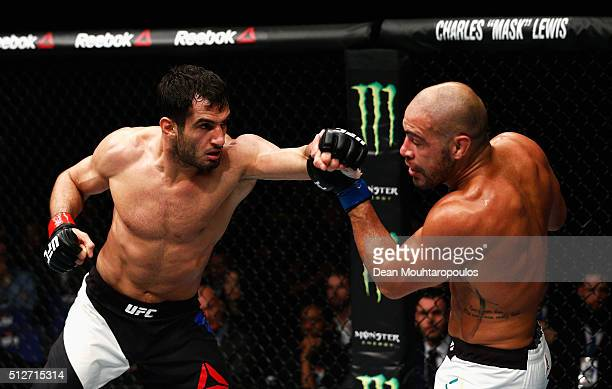 Gegard Mousasi of Netherlands and Thales Leites of Brazil compete in their Middleweight bout during the UFC Fight Night held at at Indigo at The O2...