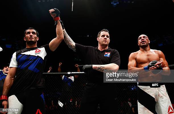 Gegard Mousasi of Netherlands celebrates after beating Thales Leites of Brazil in their Middleweight bout during the UFC Fight Night held at at...