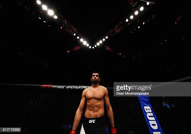 Gegard Mousasi of Netherlands gets ready to compete in his Middleweight bout against Thales Leites of Brazil during the UFC Fight Night held at at...