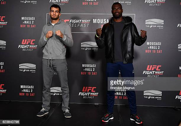 Gegard Mousasi of the Netherlands and Uriah Hall of the United States pose for a picture during the UFC Fight Night Ultimate Media Day at the SSE...