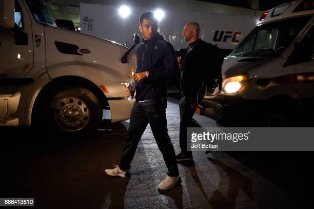 Gegard Mousasi of the Netherlands arrives backstage during the UFC 210 event at the KeyBank Center on April 8 2017 in Buffalo New York