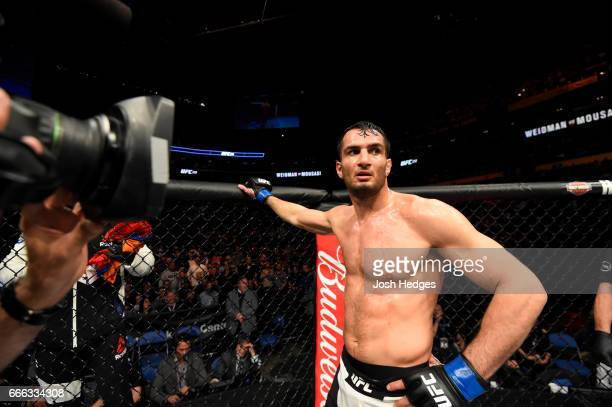 Gegard Mousasi of the Netherlands reacts after his controversial technical knockout victory over Chris Weidman in their middleweight bout during the...