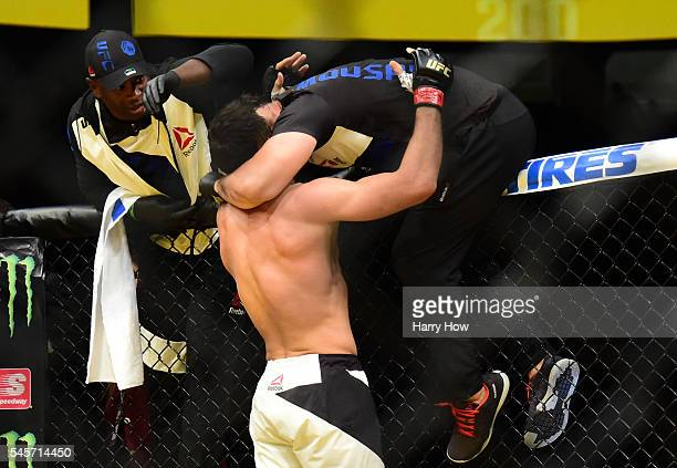 Gegard Mousasi of The Netherlands reacts to his victory over Thiago Santos of Brazil in their middleweight bout during the UFC 200 event on July 9...