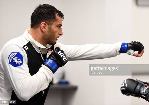 Gegard Mousasi of the Netherlands warms up backstage during the UFC 210 event at the KeyBank Center on April 8 2017 in Buffalo New York