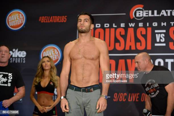 Gegard Mousasi pose for photos at the weighin Gegard Mousasi will be challenging Alexander Shlemenko in a Middleweight bout on October 19 2017 at...