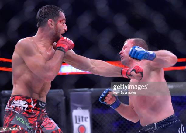 Gegard Mousasi takes on Alexander Shlemenko in a Middleweight bout on October 20 2017 at Bellator 185 at the Mohegan Sun Arena in Uncasville...