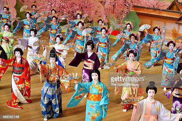 Geiko and Maiko perform during the rehearsal of the Miyako Odori their spring performance at Gion Kobu Kaburenjo Theatre on March 31 2015 in Kyoto...