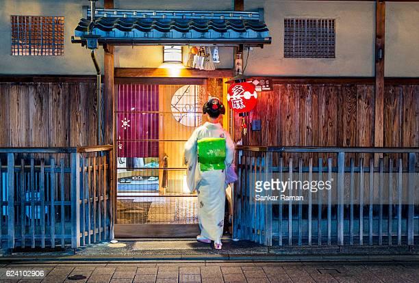 Geiko, O-chaya, Kyoto, Japan.