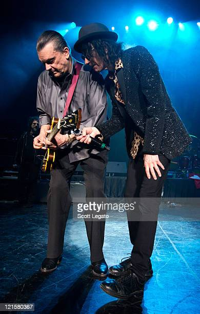 J Geils and Peter Wolf of the J Geils Band performs at the DTE Energy Center on August 19 2011 in Clarkston Michigan