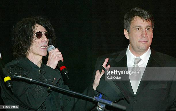 J Geils band front man Peter Wolf left and Cam Neely right at the Cam Neely Foundation Fundraiser Monte Carlo Night 'Betting On A Cause And A Cure'...