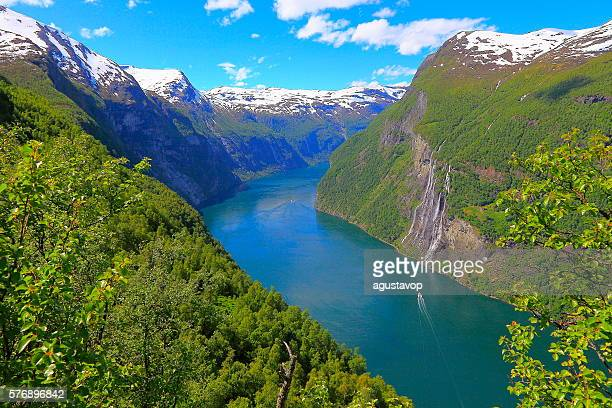 Geiranger fjord, ship Cruise, Seven Sisters Waterfall - Norway, Scandinavia