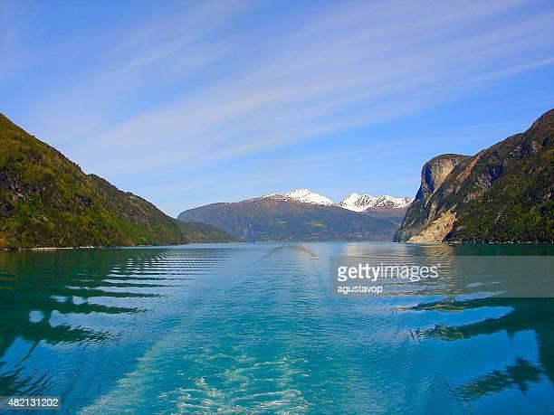 Geiranger fjord wake from cruise, Norway, Scandinavia