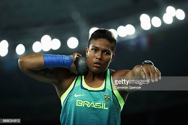 Geisa Arcanjo of Brazil competes during the Women's Shot Put Final on Day 7 of the Rio 2016 Olympic Games at the Olympic Stadium on August 12 2016 in...