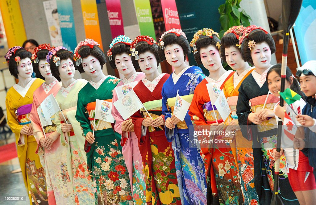 Geisha are seen waiting for the International Olympic Committee (IOC) Evaluation Commission members during their inspection at Tokyo Big Sight on March 6, 2013 in Tokyo, Japan. The IOC Evaluation Commission inspects Tokyo's bid for 2020 Summer Olympic.