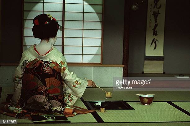 A geisha performing the tea ceremony in Kyoto Honshu