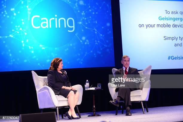 Geisinger board member Virginia McGregor interviews former Vermont Gov Howard Dean MD during the Geisinger National Symposium 'From Crisis to Cure...