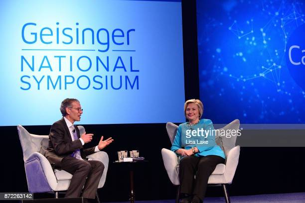 Geisinger CEO and President David T Feinberg MD MBA speaks with Hillary Rodham Clinton during the Geisinger National Symposium 'From Crisis to Cure...