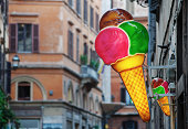 Gelati signs in central Rome, Italy