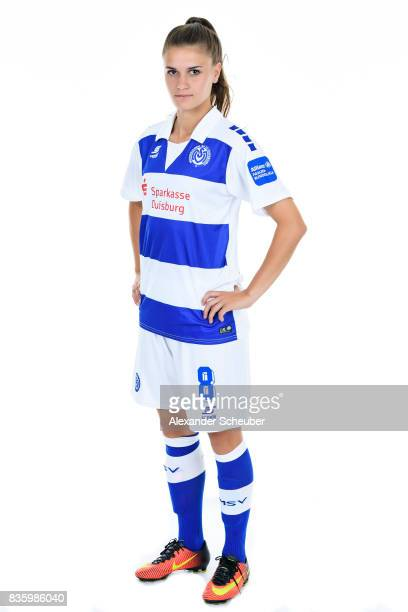 Geldona Morina of MSV Duisburg poses during the Allianz Frauen Bundesliga Club Tour at MSV Duisburg on August 17 2017 in Duisburg Germany