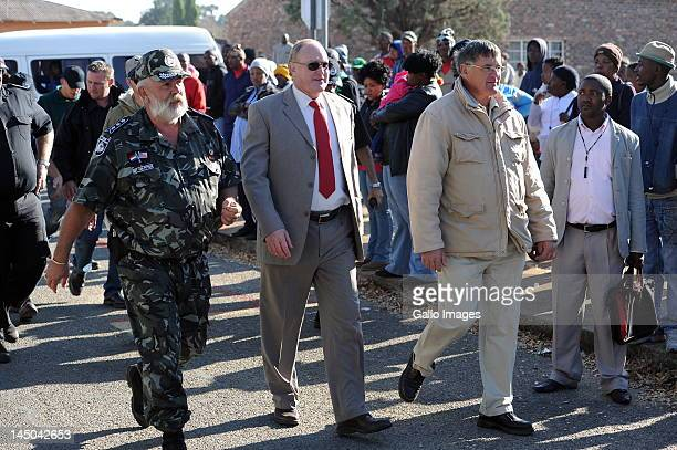Geloftevolk Republikeine Leader Andre Visagie outside the Ventersdorp magistrates court on May 22 2012 in Ventersdorp South Africa where Chris...