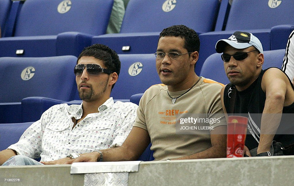 German side Schalke 04 player Brazilian-born Kevin Kuranyi, and Uruguayans Dario Rodriguez (C) and Gustavo Varela pictured 01 July 2006 during the World Cup 2006 quarter-final football game England vs. Portugal at Gelsenkirchen stadium.