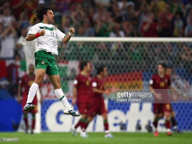 Mexican forward Francisco Fonseca celebrates after scoring a goal during the World Cup 2006 group D football game Portugal vs Mexico 21 June 2006 at...